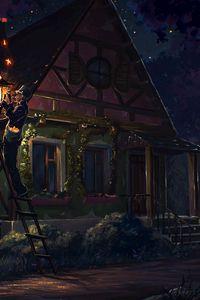Preview wallpaper house, fairy tale, art, light, night