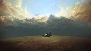 Preview wallpaper house, field, clouds, art, landscape