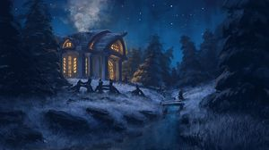 Preview wallpaper house, forest, art, night, light, trees, grass