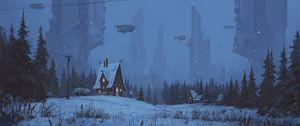 Preview wallpaper house, future, art, night, winter