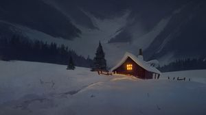 Preview wallpaper house, hut, night, snow, art