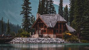 Preview wallpaper house, lake, harmony, silence, trees, forest, nature