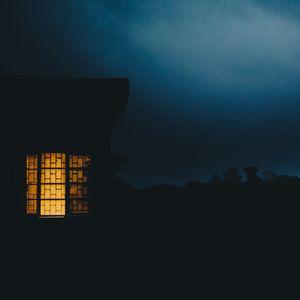 Preview wallpaper house, window, haze, dusk, dark, evening, light