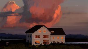 Preview wallpaper house, windows, sky