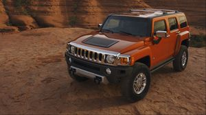 Preview wallpaper hummer h3, hummer, red, side view