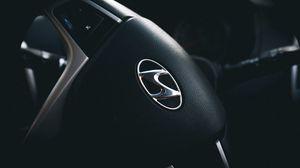 Preview wallpaper hyundai, steering wheel, logo