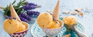 Preview wallpaper ice cream, cone, lavender, dessert