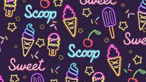 Preview wallpaper ice cream, patterns, pattern, neon, sweet