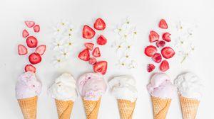Preview wallpaper ice cream, waffle, strawberries, dessert