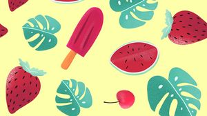 Preview wallpaper ice cream, watermelon, strawberry, leaves, patterns