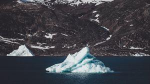 Preview wallpaper iceberg, floe, lake, mountain, sea, coast