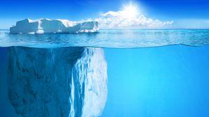 Preview wallpaper iceberg, horizon, under water, sun, rays