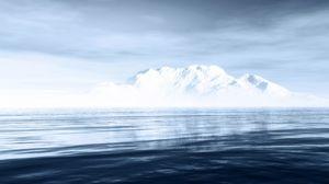 Preview wallpaper iceberg, mountains, sea, sky