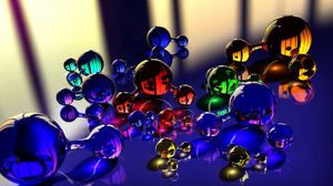 Preview wallpaper balls, molecule, massager, glass, reflection, color 1366x768