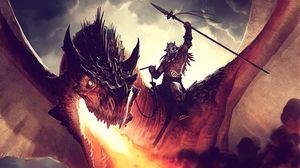 Preview wallpaper jason chan, dragon, fire, rider 1366x768