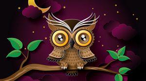 Preview wallpaper owl, bird, art, branch 1920x1080