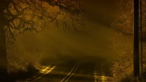 Preview wallpaper road, night, fog, marking 1920x1080