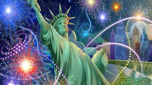 Preview wallpaper independence day, california, statue of liberty, fireworks