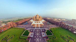 Preview wallpaper india, akshardham temple, beautiful, top view, panorama