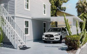 Preview wallpaper infiniti, car, suv, white, house