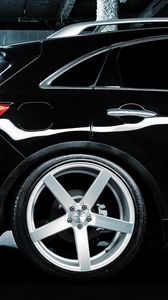 Preview wallpaper infiniti, fx 35 s, vossen, parking, black, wheels