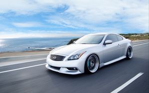 Preview wallpaper infiniti, g37, coupe, side view, speed