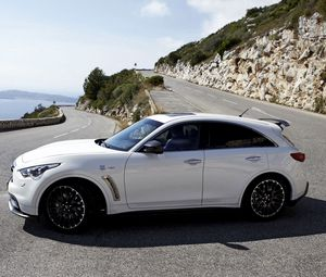 Preview wallpaper infiniti, quote, fx50, white, side view, rotate
