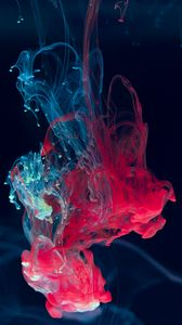 Preview wallpaper ink, water, blending, paint, drops, red, blue