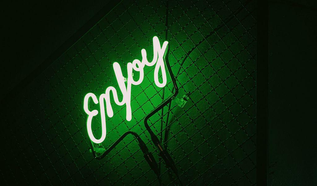 1024x600 Wallpaper inscription, neon, backlight, green, dark