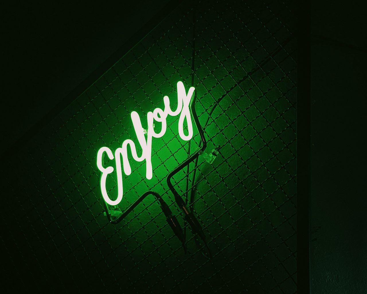 1280x1024 Wallpaper inscription, neon, backlight, green, dark