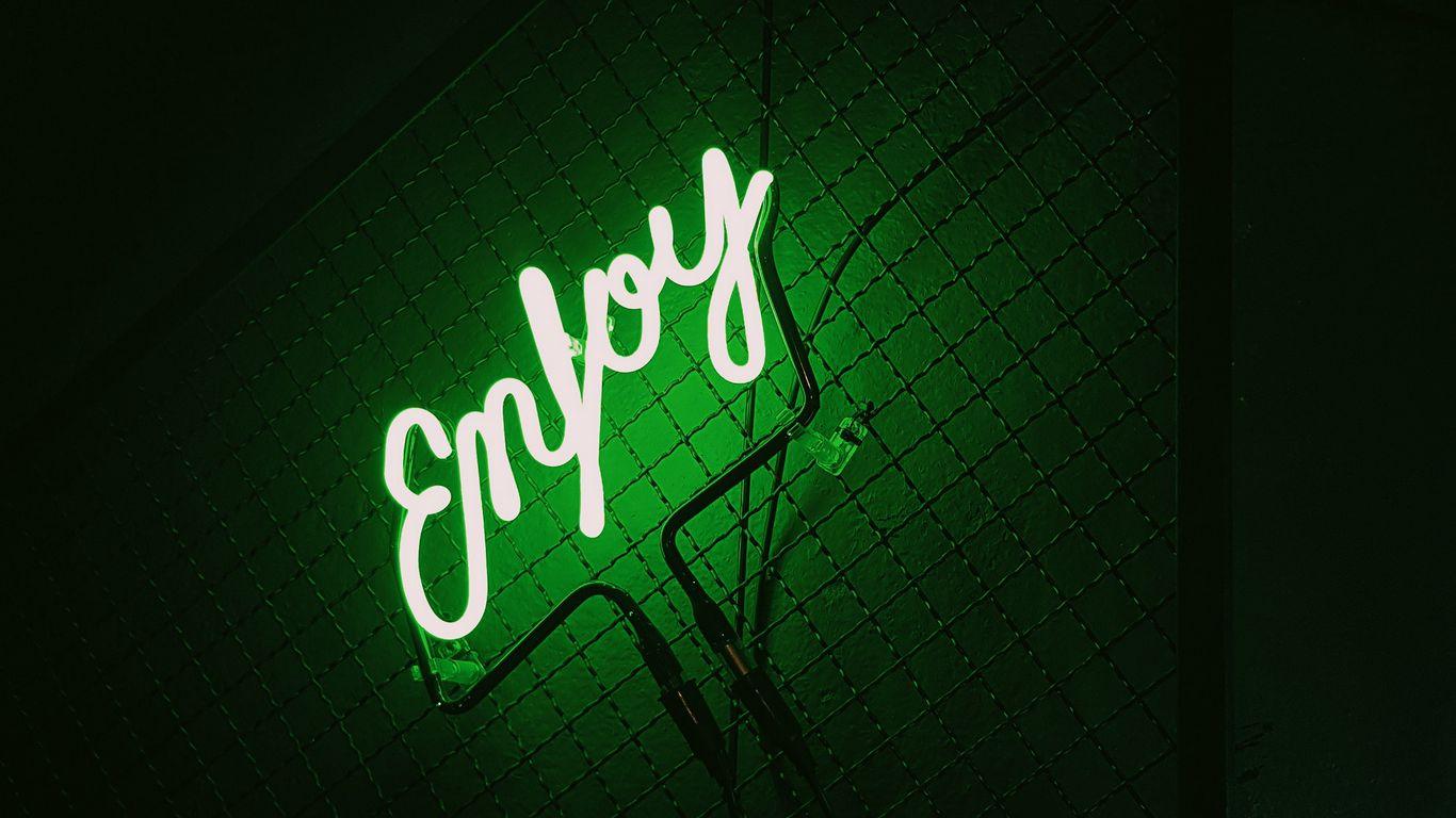 1366x768 Wallpaper inscription, neon, backlight, green, dark