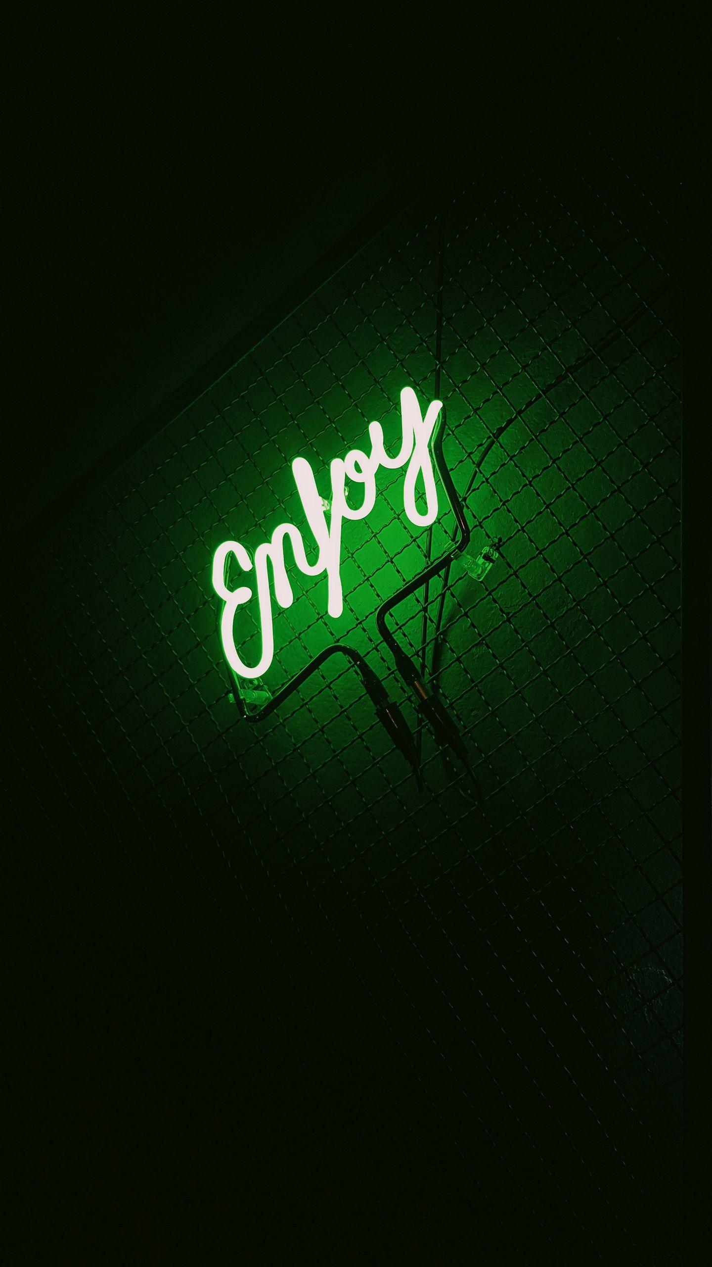 1440x2560 Wallpaper inscription, neon, backlight, green, dark