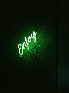 240x320 Wallpaper inscription, neon, backlight, green, dark