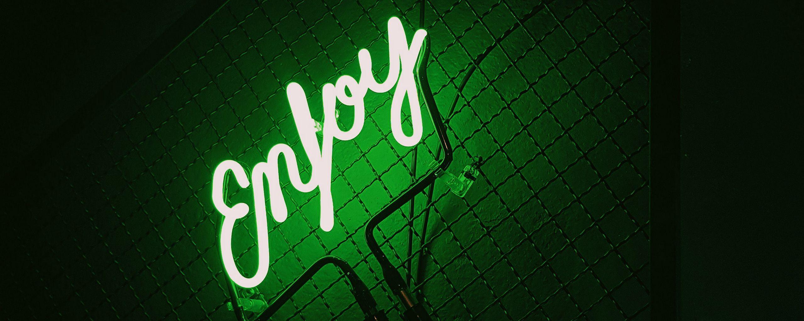 2560x1024 Wallpaper inscription, neon, backlight, green, dark