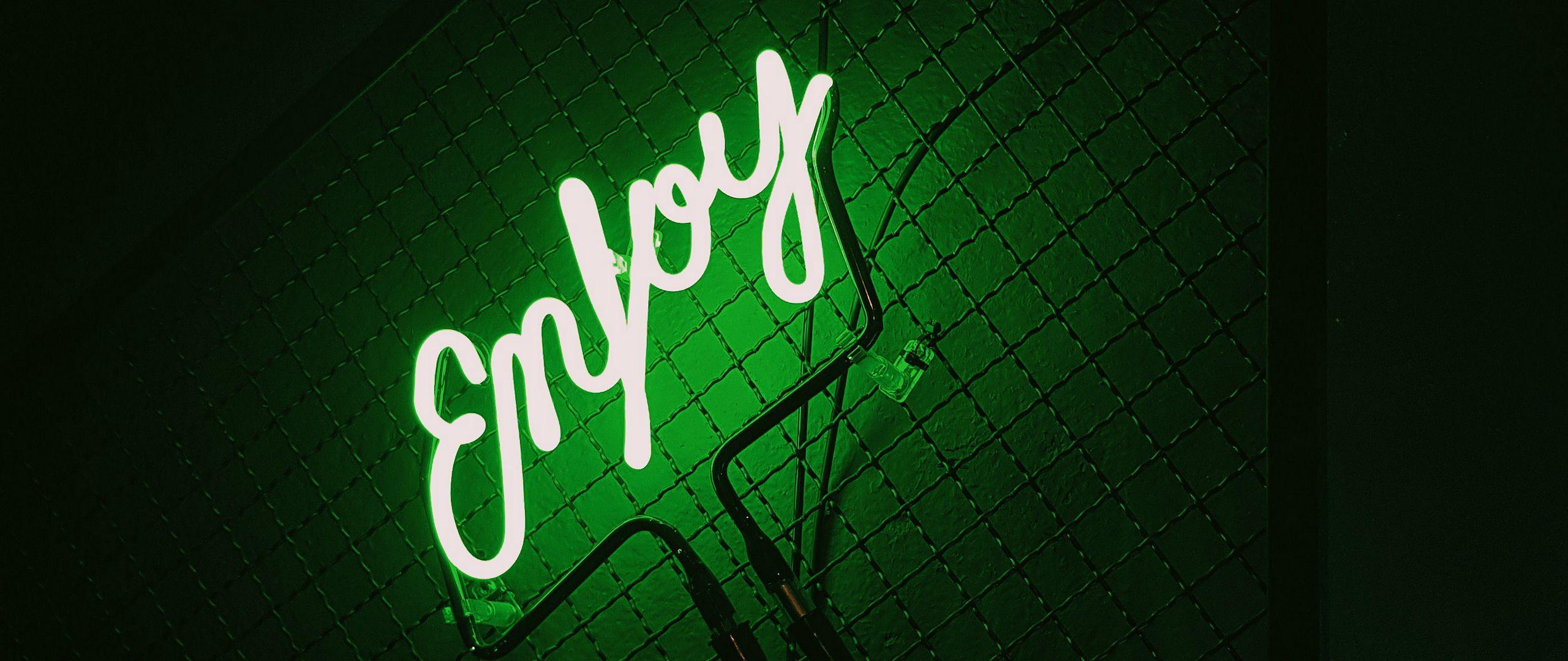 2560x1080 Wallpaper inscription, neon, backlight, green, dark