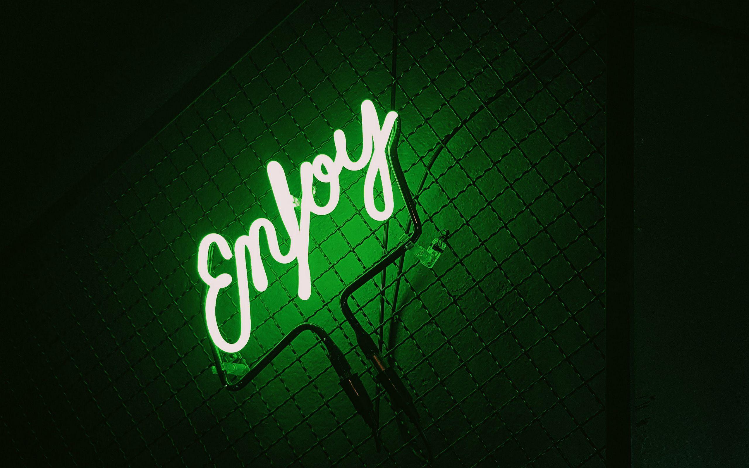2560x1600 Wallpaper inscription, neon, backlight, green, dark