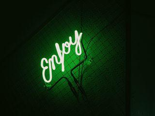320x240 Wallpaper inscription, neon, backlight, green, dark