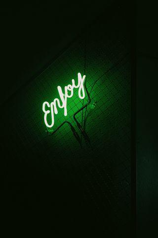 320x480 Wallpaper inscription, neon, backlight, green, dark