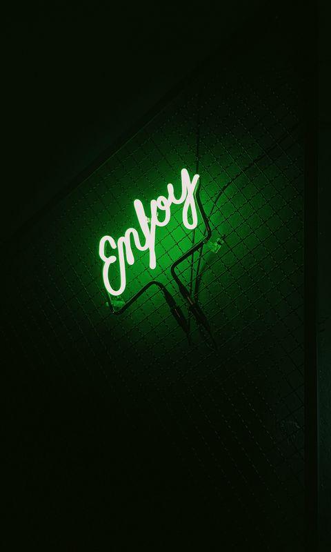 480x800 Wallpaper inscription, neon, backlight, green, dark