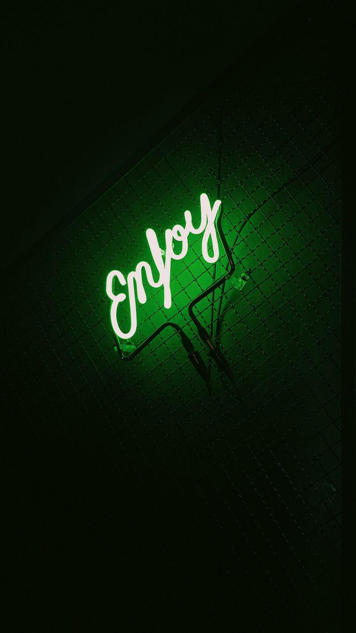 720x1280 Wallpaper inscription, neon, backlight, green, dark