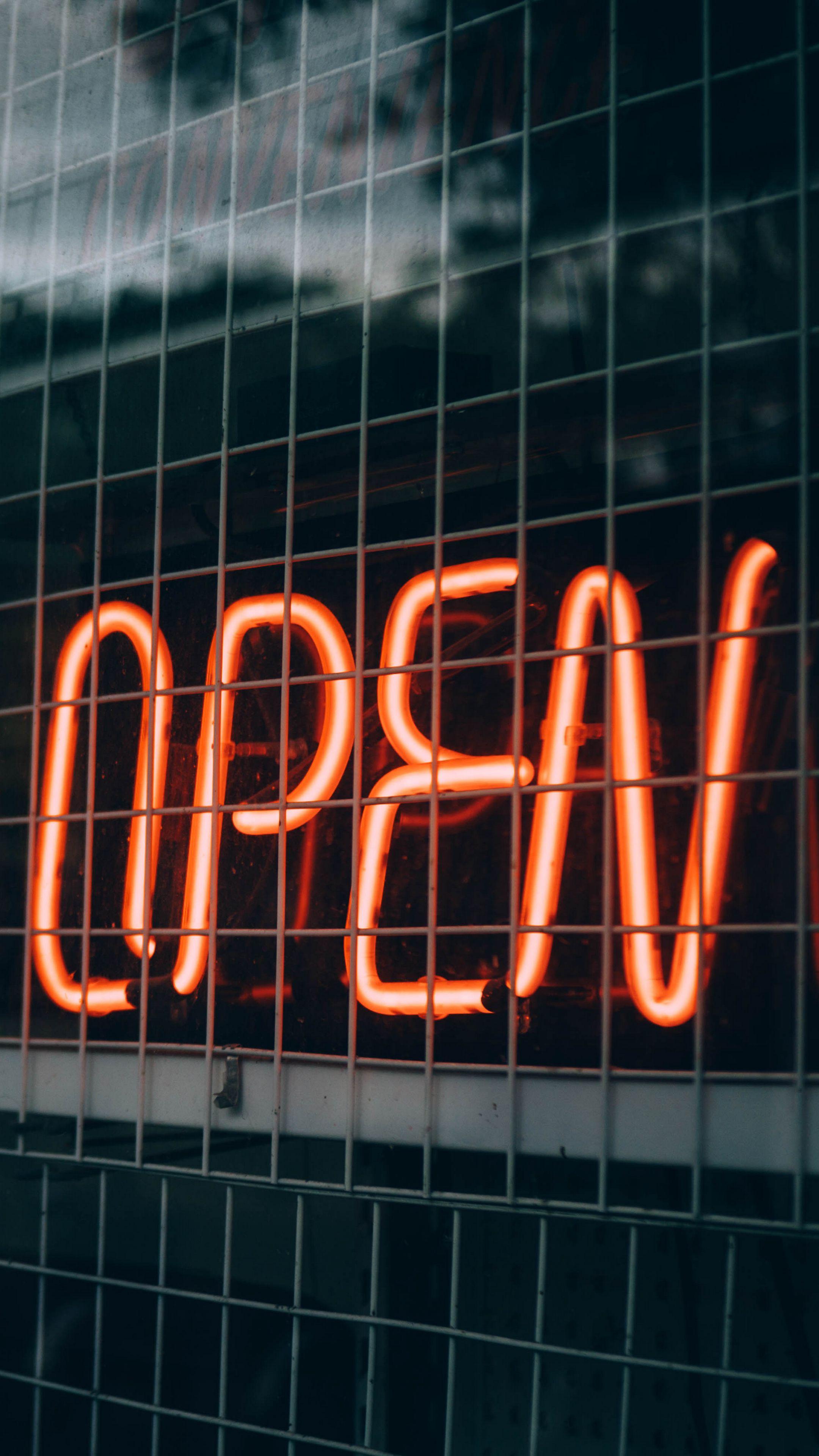 2160x3840 Wallpaper inscription, open, backlight