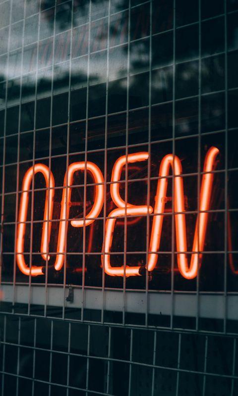480x800 Wallpaper inscription, open, backlight