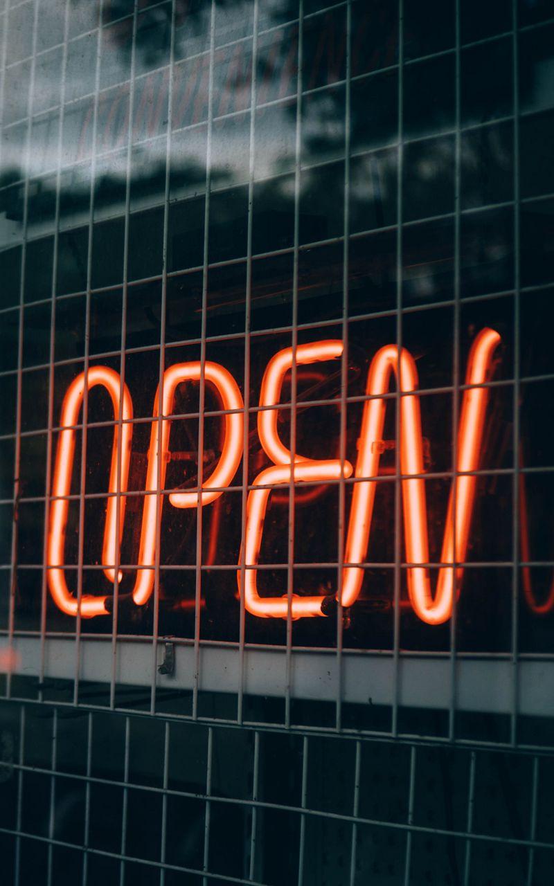 800x1280 Wallpaper inscription, open, backlight