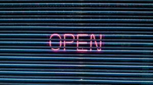 Preview wallpaper open, neon, plate, blinds, inscription