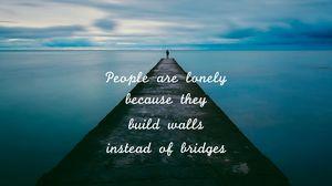 Preview wallpaper inscription, pier, loneliness, horizon