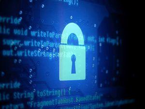 Preview wallpaper interface, code, lock, hacker, blue, dark