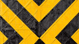 Preview wallpaper iron, marking, stripes, yellow, black, rivets, surface