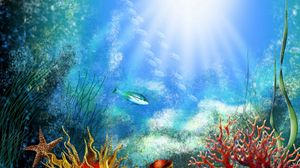 Preview wallpaper ish, under water, algas, vegetation, light