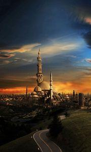 Preview wallpaper islam, mosque, city, sunset