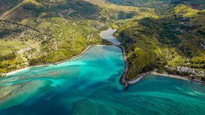 Preview wallpaper island, aerial view, ocean, coast, maconde, mauritius